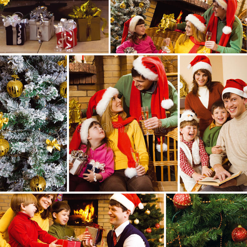 Woman With Kids Sitting On A Sofa At Christmas Stock Photo