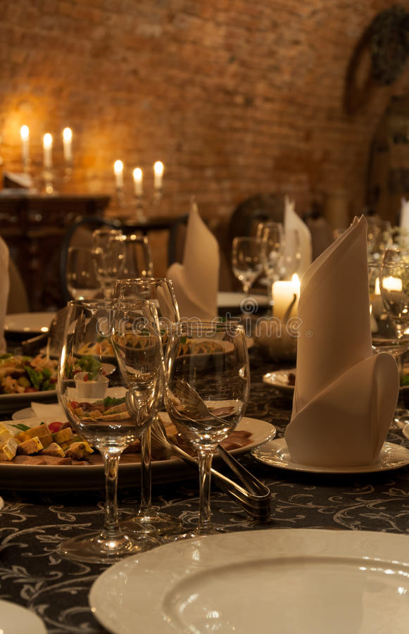 Dinner party table royalty free stock photos