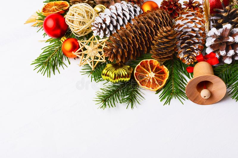 Christmas centerpiece with jute balls and straw ornaments, copy stock photos