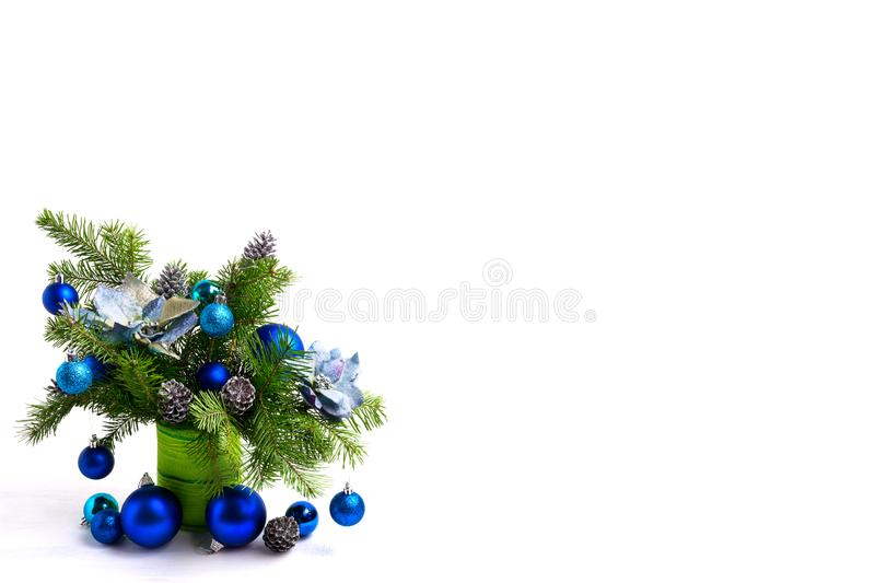 Christmas centerpiece with silk poinsettias, copy space stock images