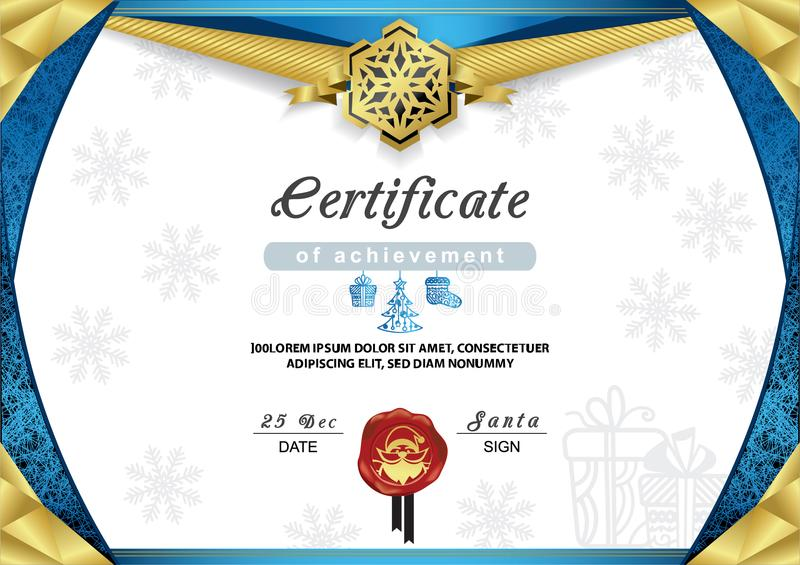 Christmas Certificate Blue Gold Border And Snowflake Emblem Stock