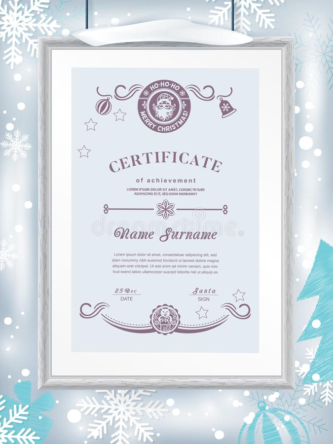 Christmas certificate with grey realistic border on snowflake background. Clean design, realistic effect shadow. Winter royalty free stock photo
