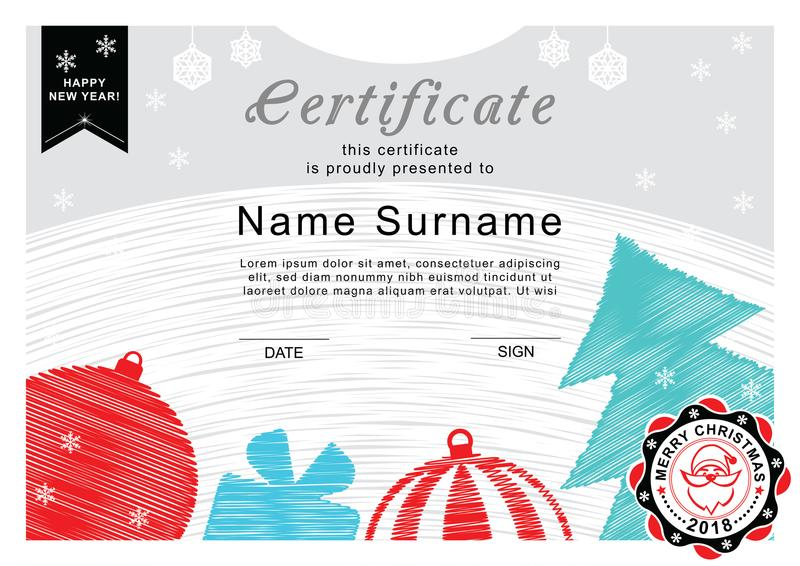 Christmas Certificate Santa On The Badge Christmas Tree And
