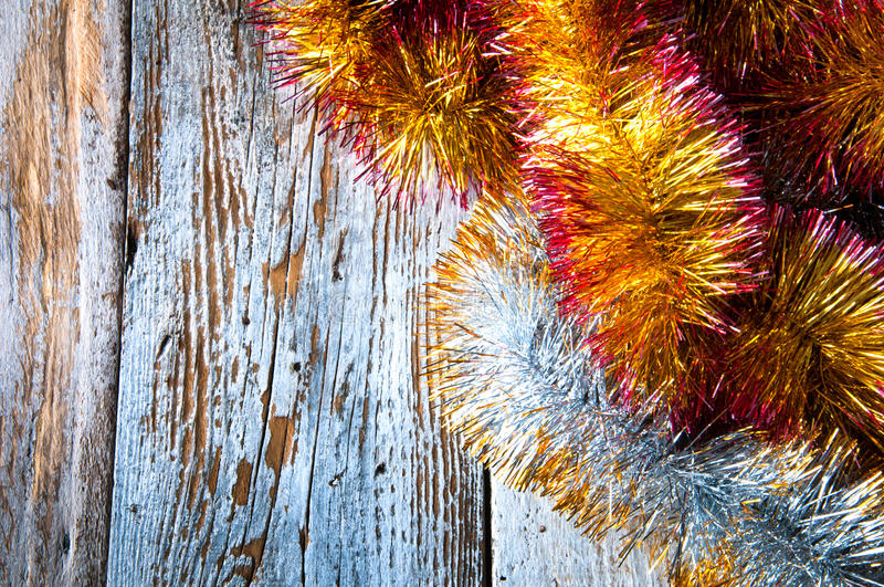 Christmas chains. Top view. Copypace stock photography