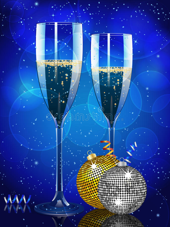 Christmas champagne and baubles vector illustration