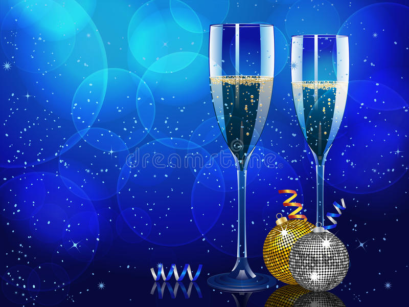 Christmas champagne and baubles landscape stock illustration