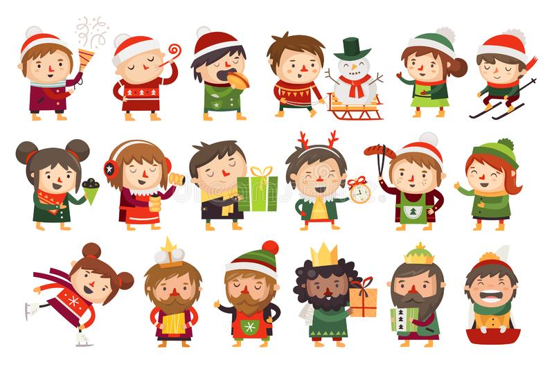 Christmas characters children and adults celebrating upcoming holidays. Various winter activities at Christmas market. Foods, sports and gifts giving. Vector stock illustration