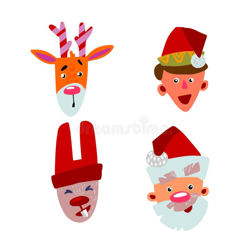 Christmas characters four faces stock illustration