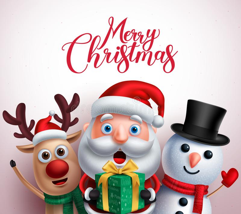 Christmas characters like santa claus,reindeer and snowman holding gift. With merry christmas greeting in white background. Vector illustration royalty free illustration