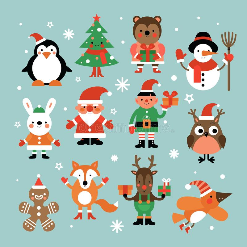 Christmas characters. Santa claus, fir-tree and penguin, snowman and elf, hare and owl, deer and gingerbread man cartoon. Vector set. Christmas snowman and vector illustration
