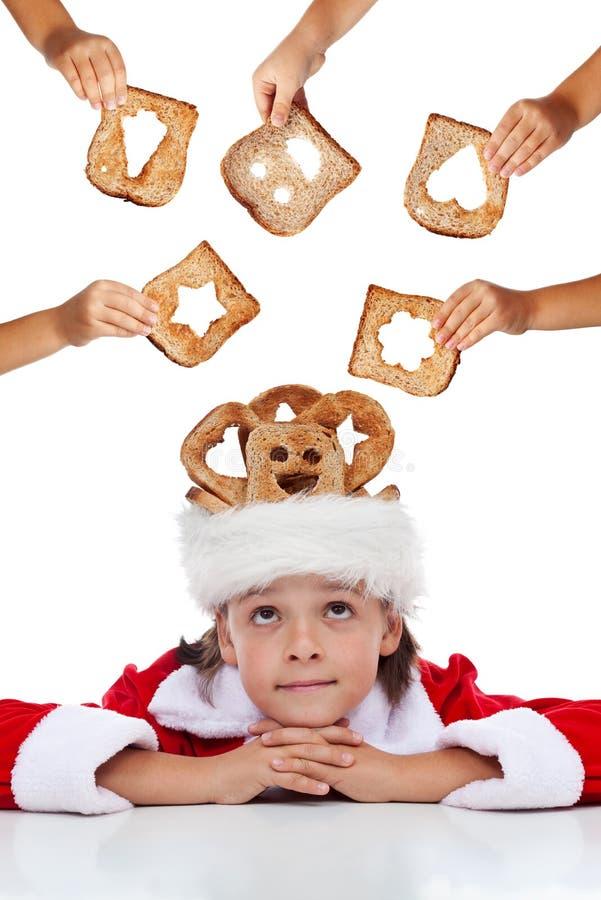 Christmas charity - giving food for the needy. Christmas charity - lots of hands giving food for the needy stock photo