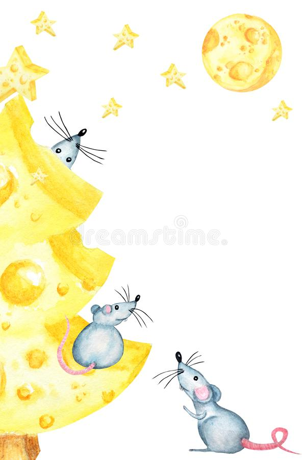 Christmas cheese tree with rat. New year greeting card, poster concept 2020. Watercolor drawing piece yellow cheese. Christmas cheese tree with rat. New year stock illustration