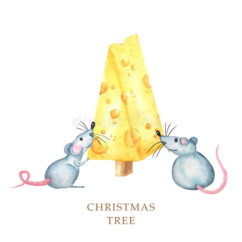 Christmas cheese tree with rat. New year greeting card 2020. Watercolor drawing piece of triangular yellow cheese. Mouse stock images