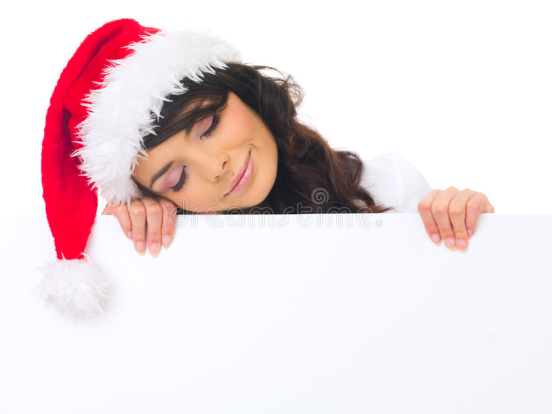 Download Christmas chick with board stock photo. Image of claus - 6764774
