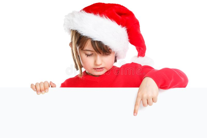 Christmas child kid girl Santa Claus pointing empty banner copyspace isolated royalty free stock photos