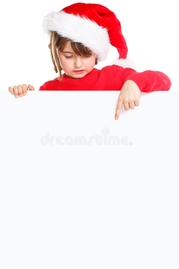 Christmas child kid girl Santa Claus pointing empty banner portrait format copyspace isolated royalty free stock photography