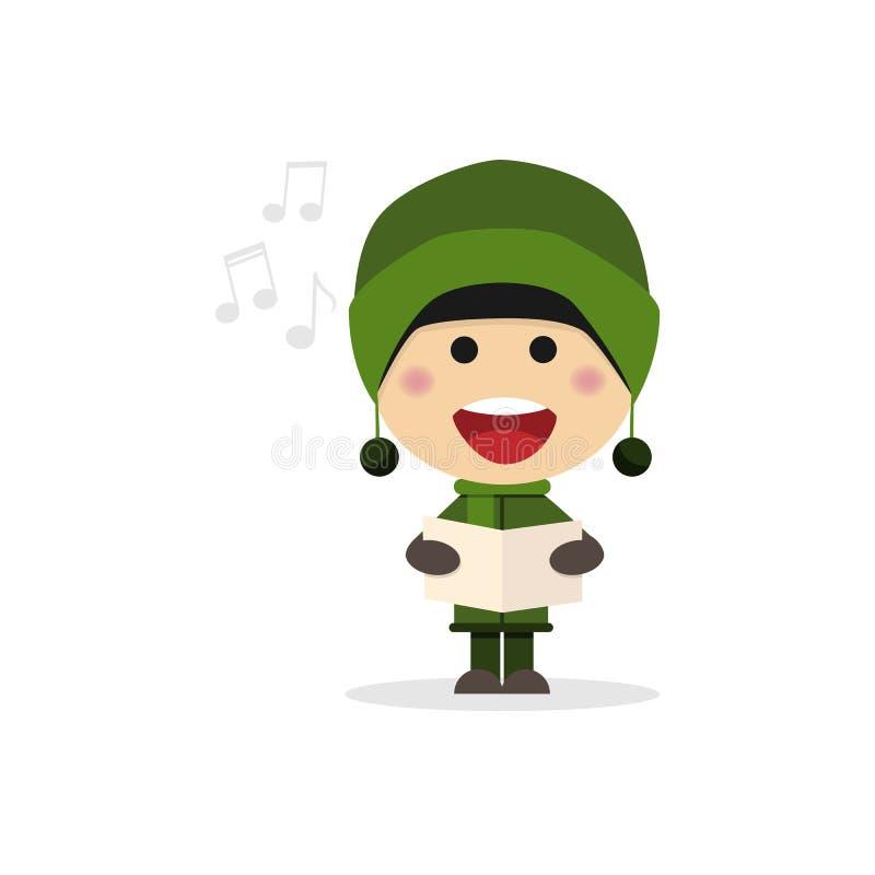 Christmas child singing carols on a white background royalty free illustration