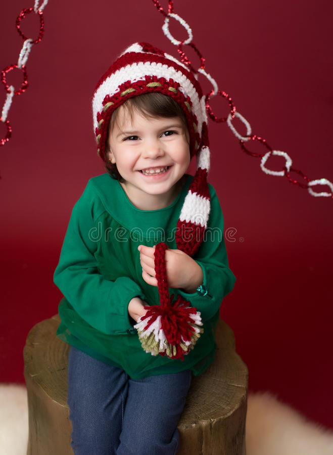 christmas child in santa elf hat stock image image of laughing