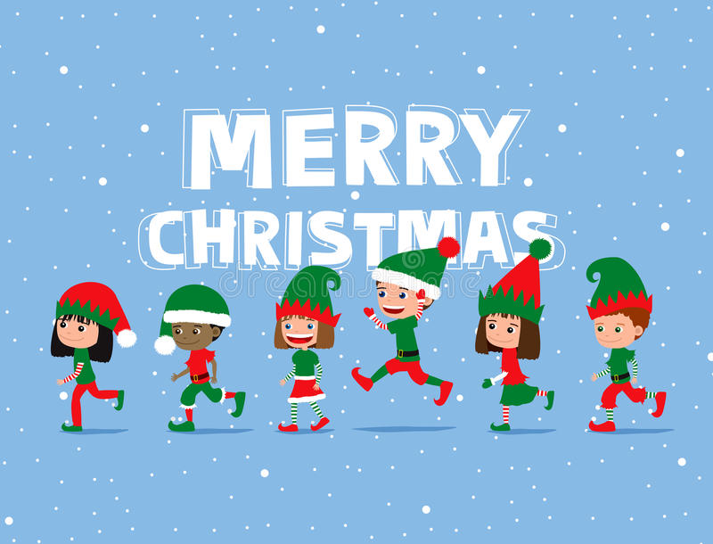 Christmas children. Cute cartoon kids wearing elf costumes. Greeting card royalty free illustration
