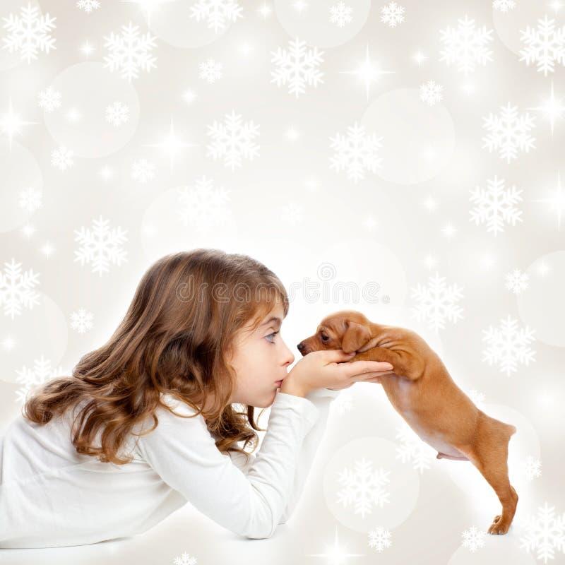Download Christmas Children Girl Hug A Puppy Brown Dog Stock Photo - Image: 27236214
