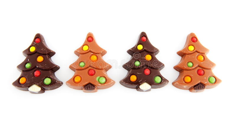 Christmas chocolate candy in shape of tree stock photo