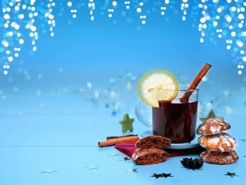 Christmas chocolate Cookies with garland and mulled wine isolated. stock photography