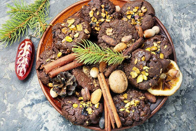 Plate with tasty Christmas cookies stock image