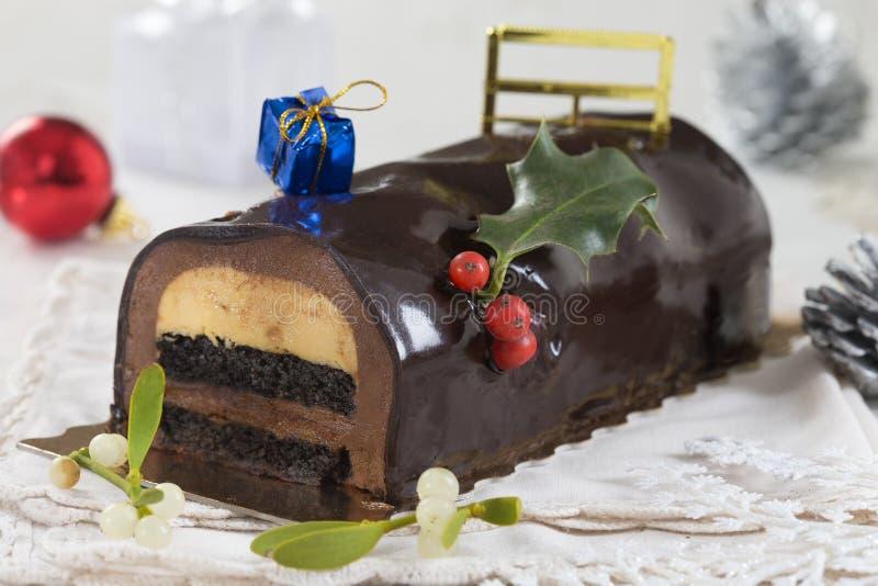 Christmas chocolate yule log cake stock image