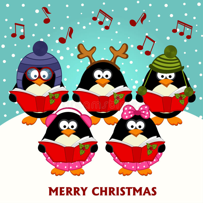 Christmas choir penguins royalty free illustration