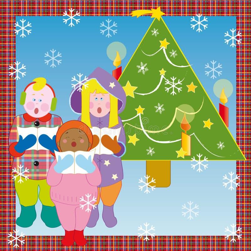 Christmas chorus. Chorus of children with snow and Christmas tree stock illustration