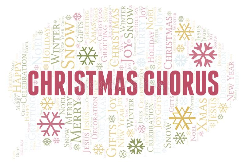 Christmas Chorus word cloud. Wordcloud made with text only royalty free illustration