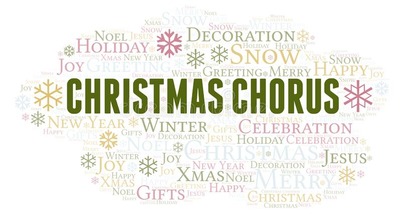 Christmas Chorus word cloud. Wordcloud made with text only vector illustration