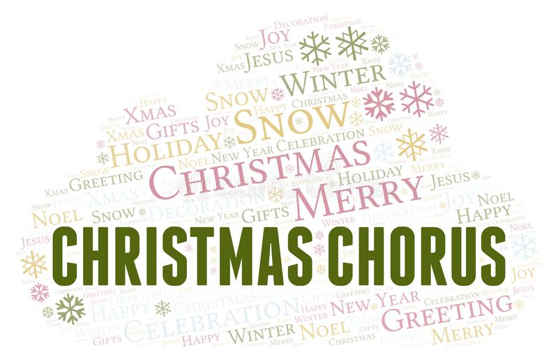 Christmas Chorus word cloud. Wordcloud made with text only stock illustration