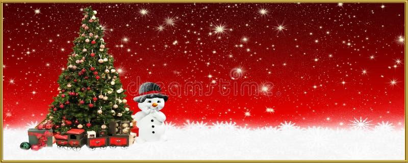 Christmas: Christmas: Christmas tree and snowman, banner, background stock images