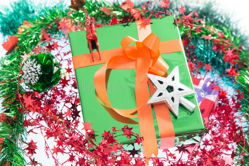 Christmas. Christmas Gift Box and Decorations isolated on White Background. stock photos