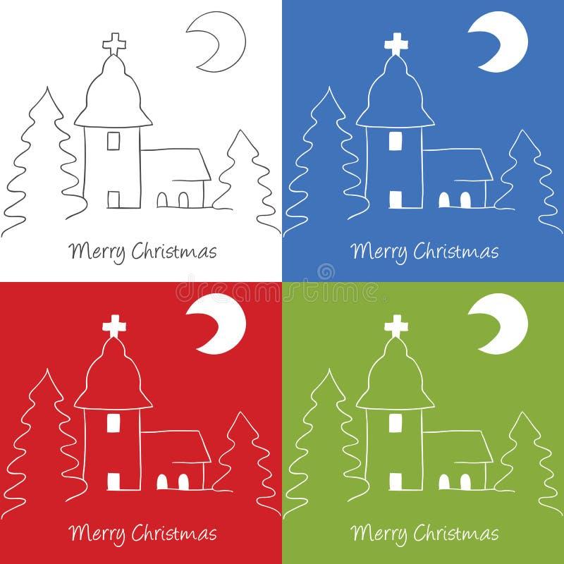Christmas church doodle royalty free illustration