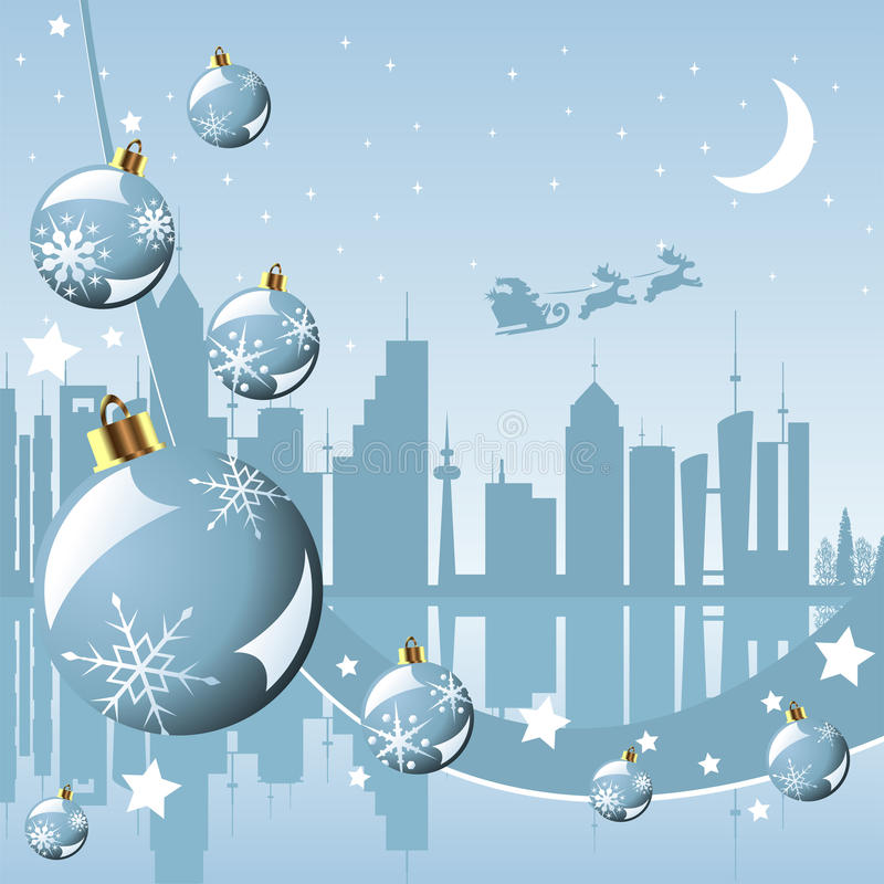 Christmas in the city stock illustration