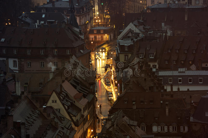 Christmas city from above royalty free stock photography