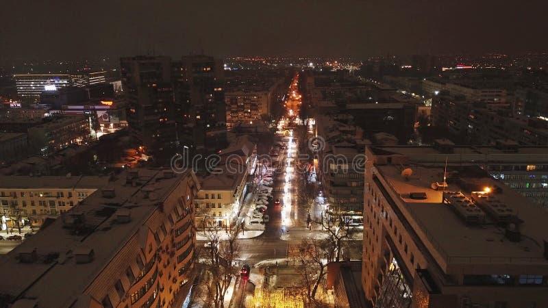 christmas city fairy latvia night provincial shortly similar tale to Πυροβολισμός με τον κηφήνα του αέρα Φωτεινές οδοί, φω'τα, δρ στοκ εικόνες