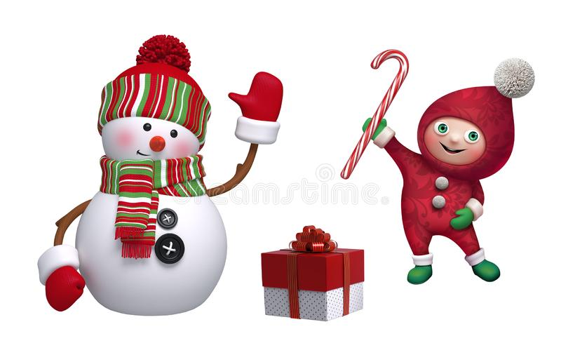 Christmas clip art collection. 3d render of cute snowman, funny elf, wrapped gift box, candy cane, isolated on white background. Seasonal ornaments, decor stock illustration