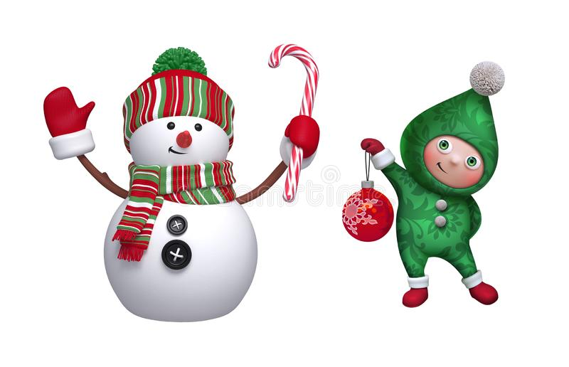 Christmas clip art collection. 3d render of cute snowman, shy smiling elf, glass ball, candy cane, isolated on white background. vector illustration