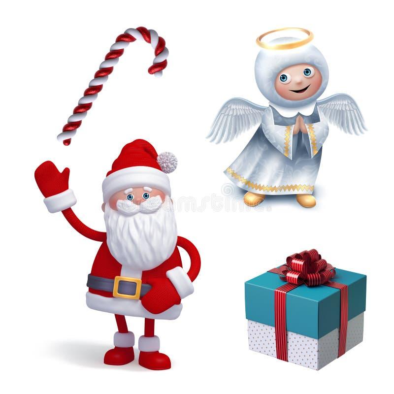 Christmas clip art set isolated on white background. Angel, Santa Claus, candy cane, gift box. Festive 3d illustration. Icon set royalty free illustration
