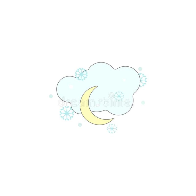 Christmas cloud snow, night icon. Element of Christmas for mobile concept and web apps. Colored Christmas cloud snow, night illust royalty free illustration