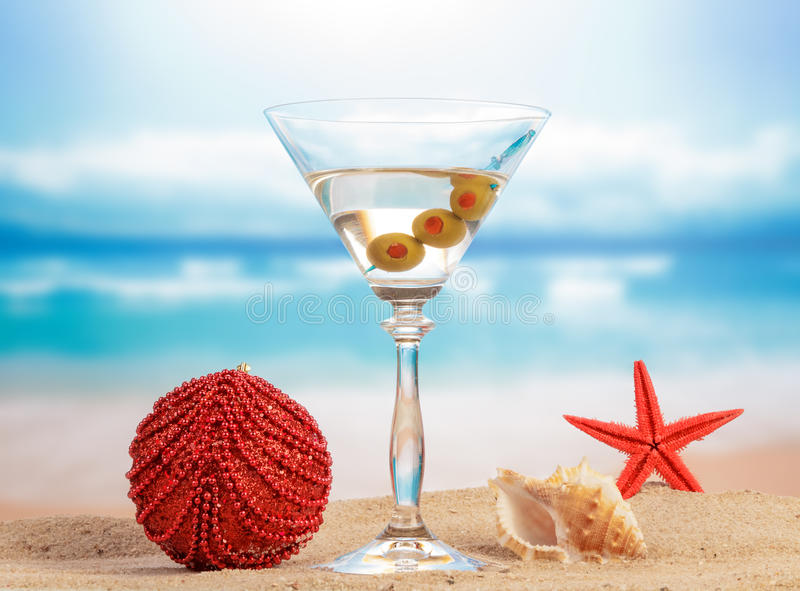 Christmas Cocktail with ball decoration stock photos