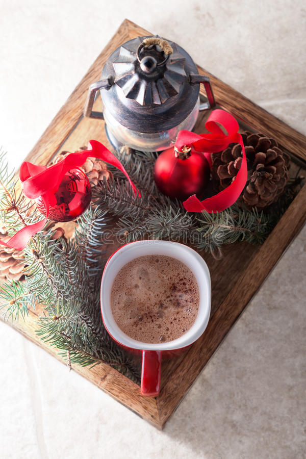 Christmas cocoa in mug on the wooden tray.  royalty free stock photo