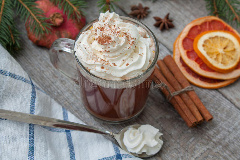 Christmas cocoa with whipped cream, chocolate, walnuts, cinnamon royalty free stock photo