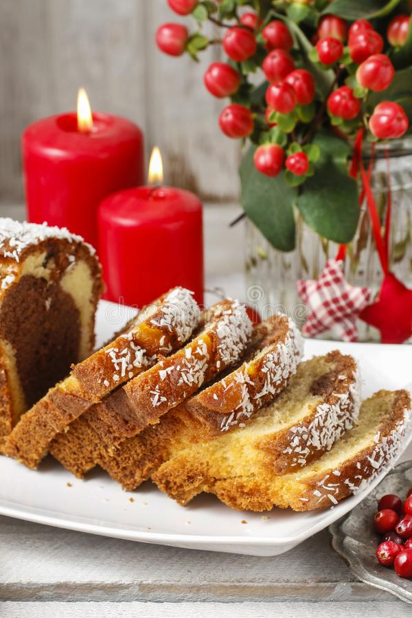 Christmas coconut cake stock image