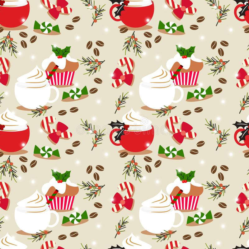 Christmas coffee and cupcake seamless pattern. Cute Christmas concept stock illustration