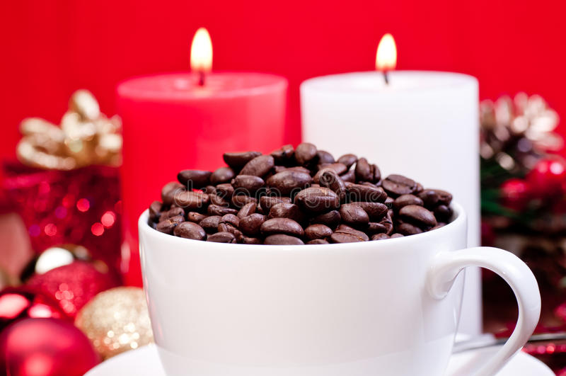 Download Christmas Coffee Beans In A Cup Stock Photo - Image of baubles, black: 22132382