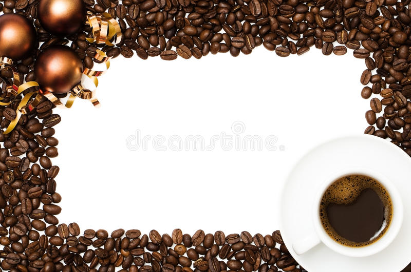 Christmas Coffee Border. With cup of espresso and copper colored baubles and coffee beans royalty free stock images